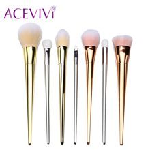 ACEVIVI Merk Gold 7 Stks Up Kwasten Set Synthetisch Haar Make Up Borstels Gereedschap Cosmetische Foundation Brush Kits(China (Mainland))
