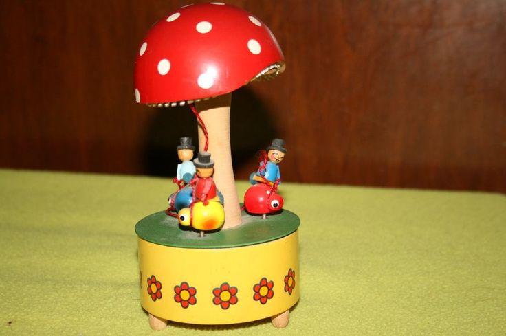Vintage Reuge Wooden Mushroom Bug Carousel Music Box