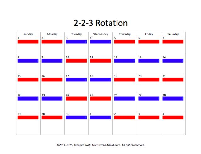 6 Sample Joint Custody Schedules: Option #4: A 2-2-3 Rotation
