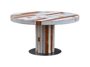 Ronde tafel sloophout - kies voor een luchtige poot van zwart staal - restylen.nl