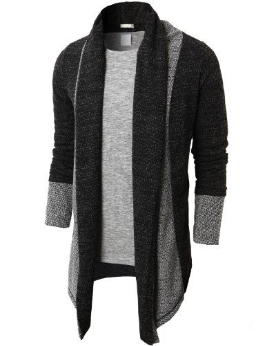 [Two-tone, grey accents]  H2H Men's Shawl Collar Cardigan With No Button - List price: $45.99 Price: $28.99  #H2H