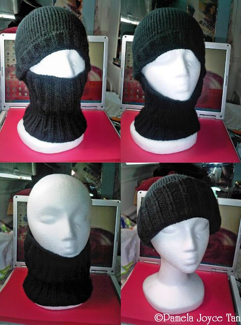 Convertible Balaclava  Also known as a ski mask/helmet liner (Knitted) Can be worn in 4 ways (clockwise from top left): 1. as a ski mask, 2. as a beanie and a cowl together, 3. as beanie alone, 4. as a cowl alone  arts, balaclava, beanie, blogging, crafts, cupcake, helmet liner, hood, knitting, miss pamela, newsboy cap, pamela, pamela-joyce, pamelajoyce, scarf, ski mask, slouchy, yarnplay