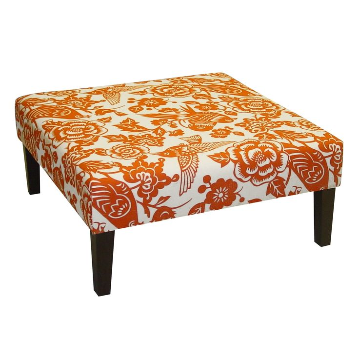Skyline Furniture Cocktail Ottoman - Canary Tangerine | from hayneedle.com