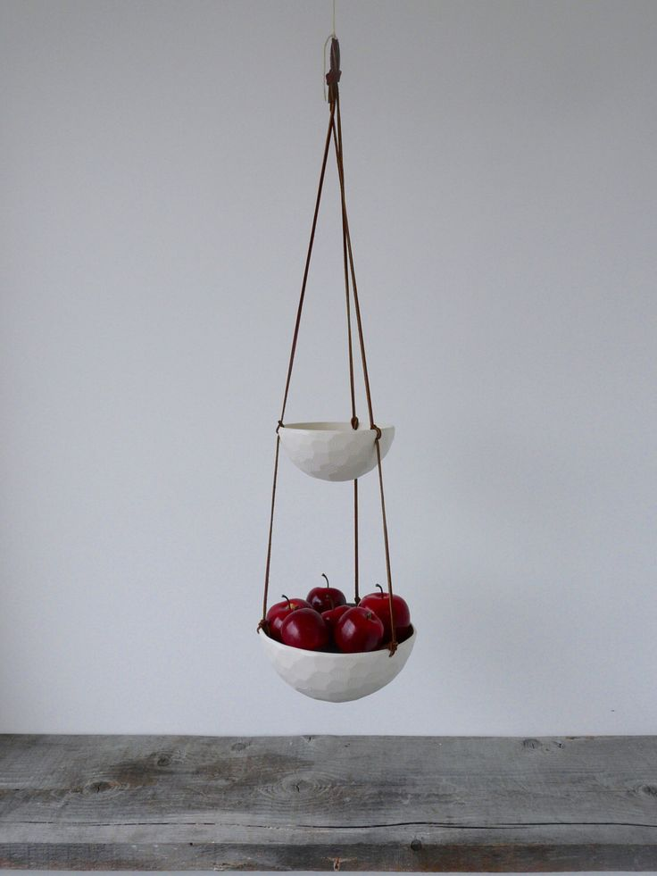 Hanging Fruit Basket, Two Tiered Porcelain And Leather By RevisionsDesign  On Etsy Https:/