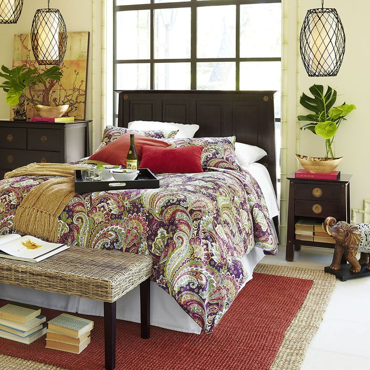 A few Asian-inspired pieces from Pier 1 can make you feel like you're traveling without leaving the bedroom.