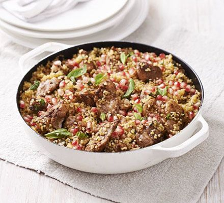 Chicken & pomegranate bulghar pilaf. Don't be scared of using fresh pomegranates - they are much better value and much more tasty than the packets of seeds!