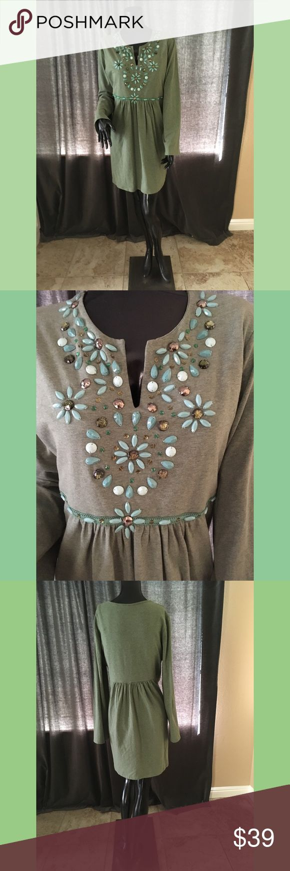 Long-sleeved, embellished tunic dress Green, long-sleeved tunic dress with jewel and sequin embellishment on front. Diane Gilman Dresses Long Sleeve