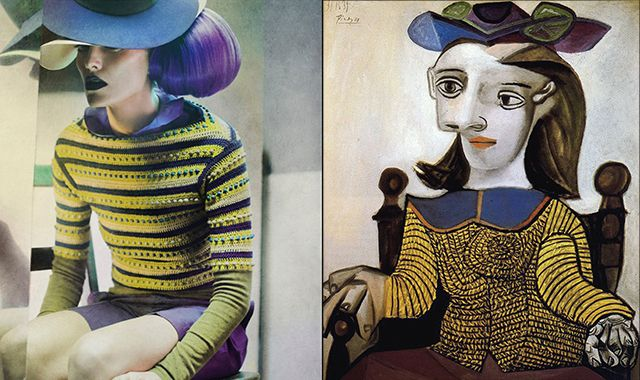 "Left: Eugenico Recuenco, 2013 / Right: Pablo Picasso, ""The yellow shirt (Dora Maar),"" 1939"
