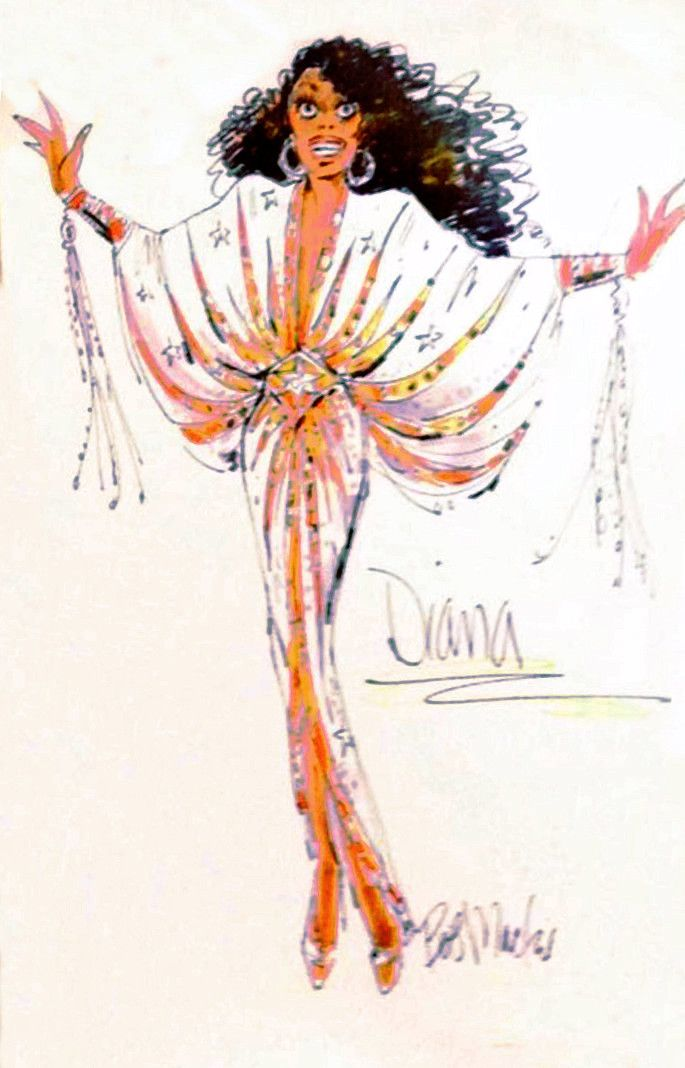 Diana Ross gown sketch by Bob Mackie