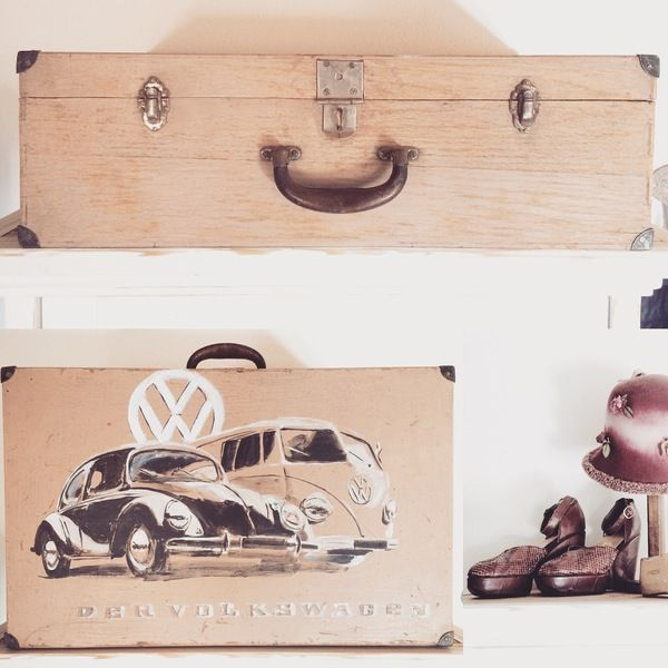 Handbemalter Koffer, Holz, Vintage, VW, Oldtimer, München Auftragsmalerei Kunst Ismaning