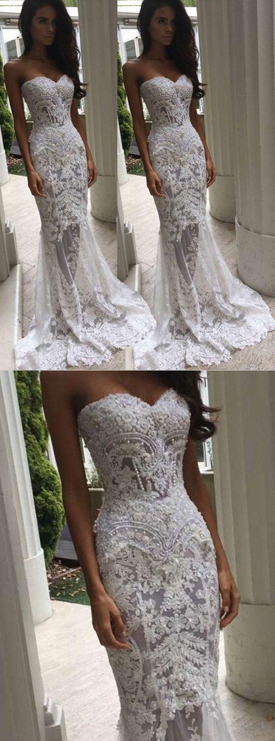 Elegante Meerjungfrau Ballkleider lange Spitze Abendkleider bescheidenen weißen… – Hochzeitskleid