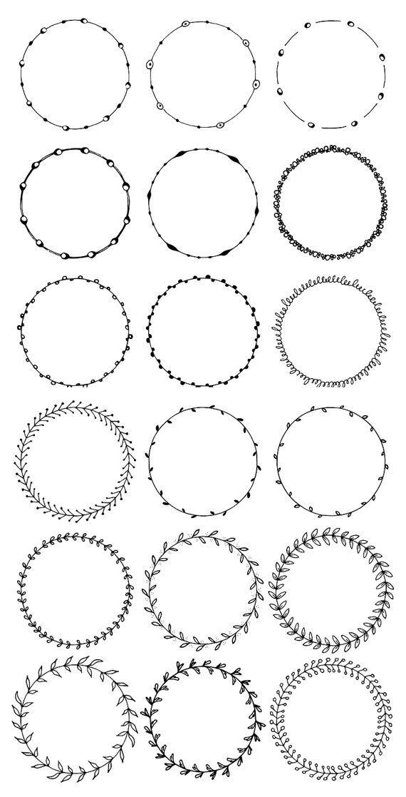 36 hand gezeichnete Runde Zierleisten, Kreis Grenzen: Floral, Boho, Abstract Doodle; Punkte, Kreise, Blätter; Digitale Bilderrahmen Clipart