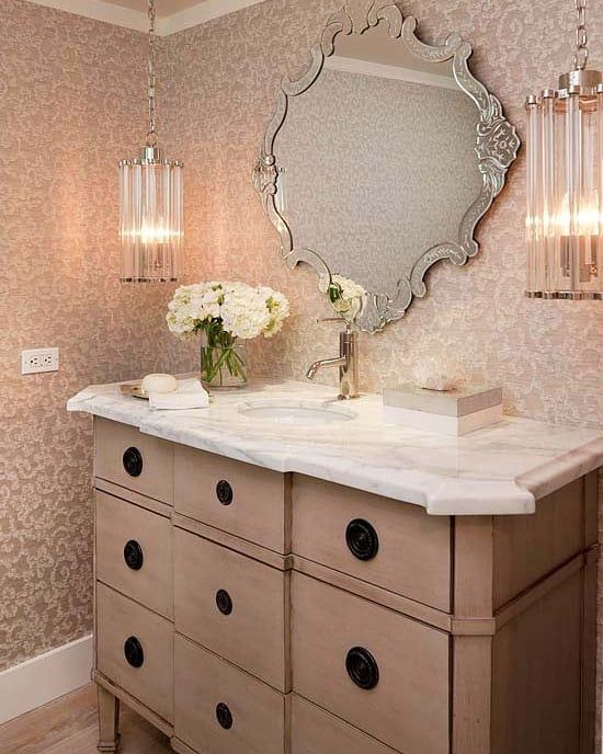 Love The Delicate Mix Of Pink In This Bhg Bathroom Interiordecor