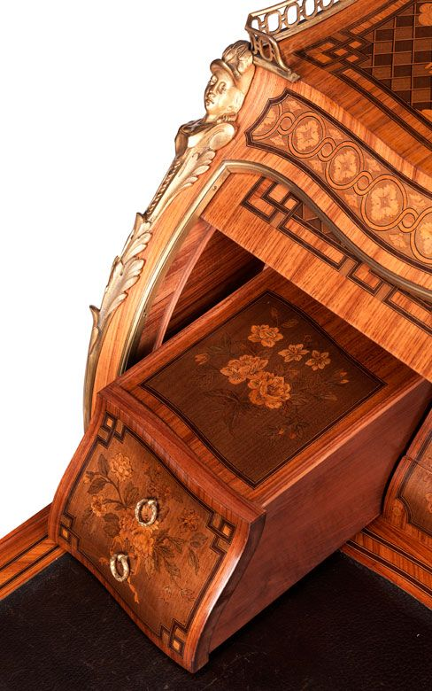 High Fine cylinder Bureau after the famous writing Bureau of David Roentgen for Marie Antoinette