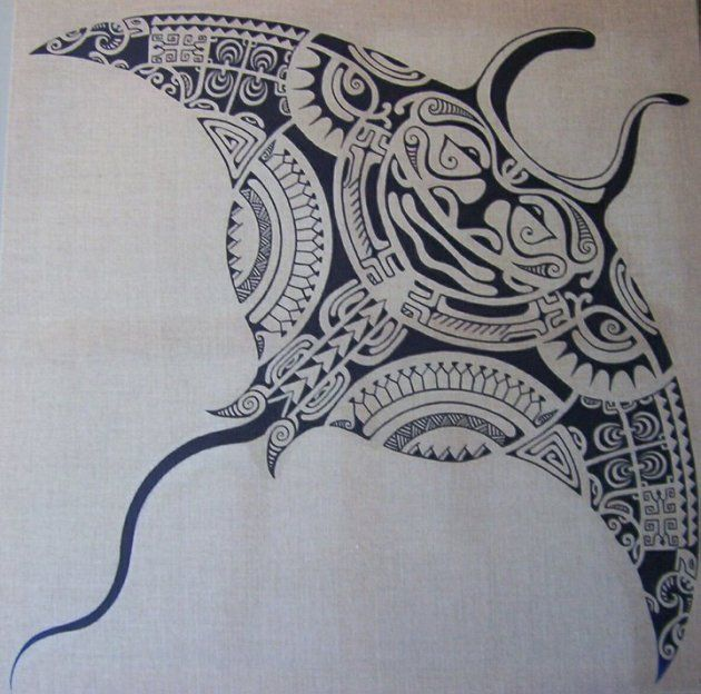 Maori Tattoo Pattern of Polynesian Manta Ray by Ta'a Tiki Tattoo Marseilles