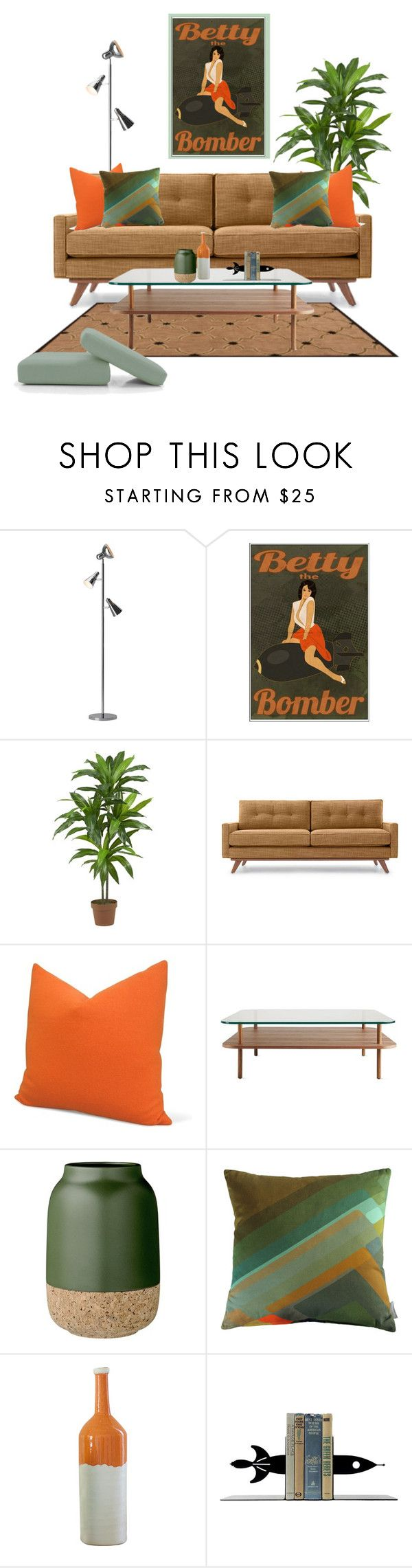 Betty the Bomber by she-kills-monsters on Polyvore featuring interior, interiors, interior design, home, home decor, interior decorating, Thrive, Zuo, Nearly Natural and Joybird Furniture