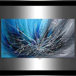 Resumen arte de la pared azul pintura sobre tela por largeartwork