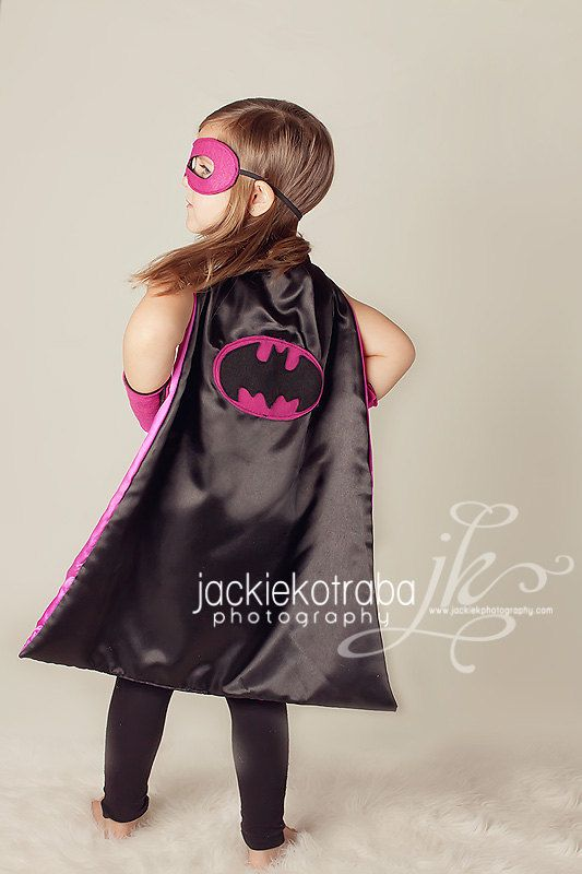 Super Hero Cape, Ultimate Batgirl/Supergirl Reversible Cape, Pink and Black Superhero Mask and Power cuffs on Etsy, $42.00