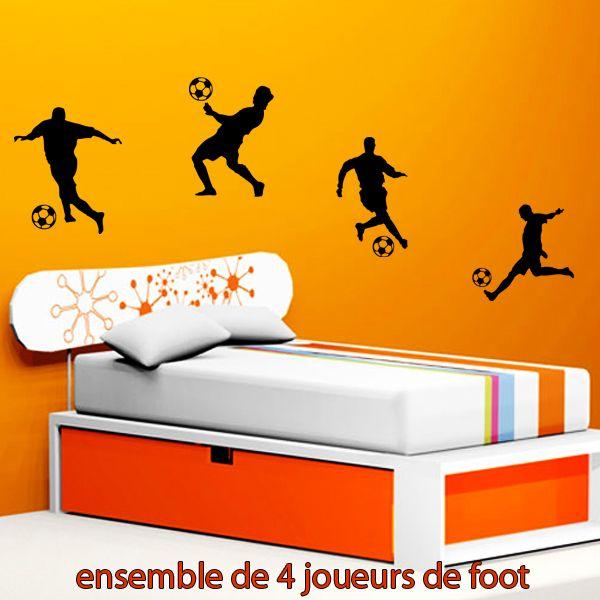 Stickers 4 joueurs de foot - Sport/Foot - Destock-Stickers