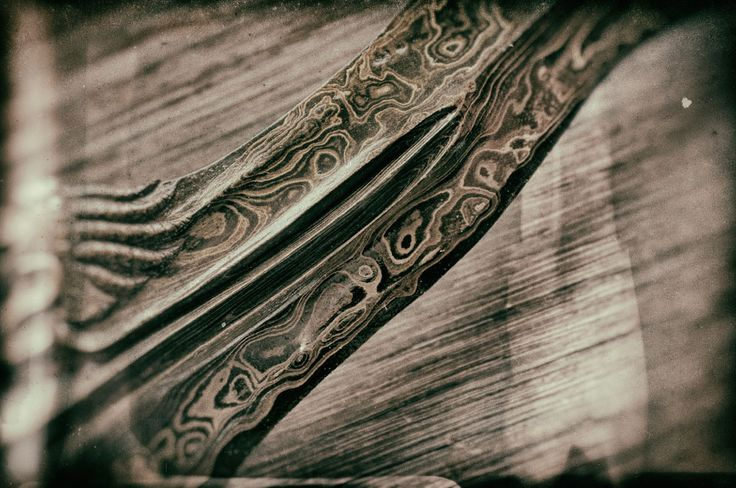 Close-up of Damascene steel on a Javanese kris sword © 2016 Bali Charm