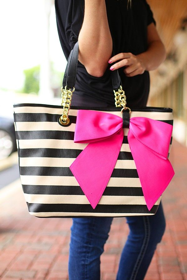 Black and White Striped tote with Gold Chain and Black Leather Tote with Pink Bow  Bow-Nanza Tote by Betsey Johnson