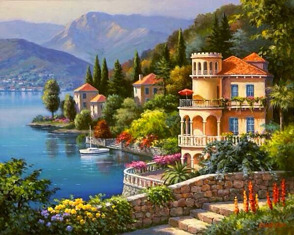 "ART~ ""Lakeside Villa"" On Lake Como~  by Sung Kim."