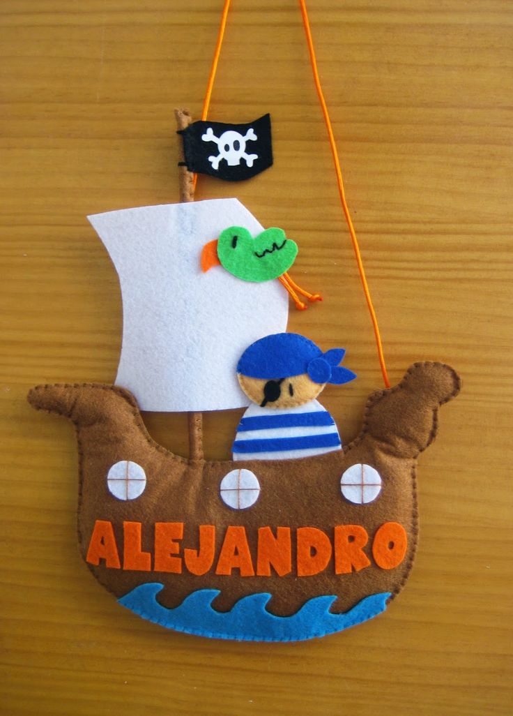 Barco pirata nombre habitacion niño bebe personalizado - Pirate ship boy or baby name for the bedroom ALEJANDRO