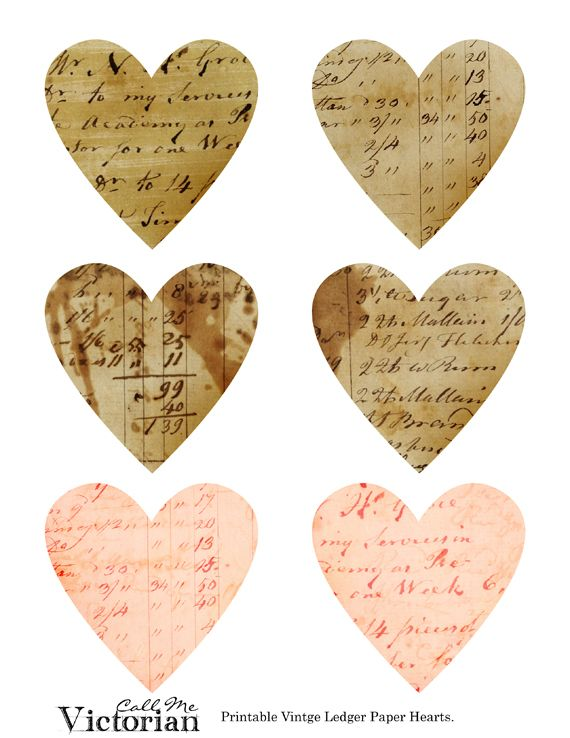 free vintage ledger hearts printable great embellishment for a sweet couple photo also use for wedding and anniversary heritage pages