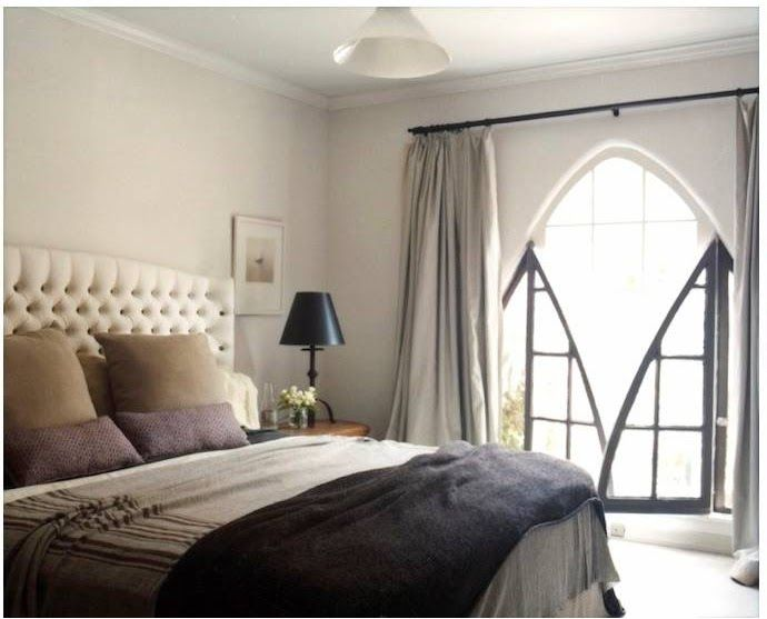 Purple & Grey Bedroom - like the addition of the sandy color and the olive stripes on the bed