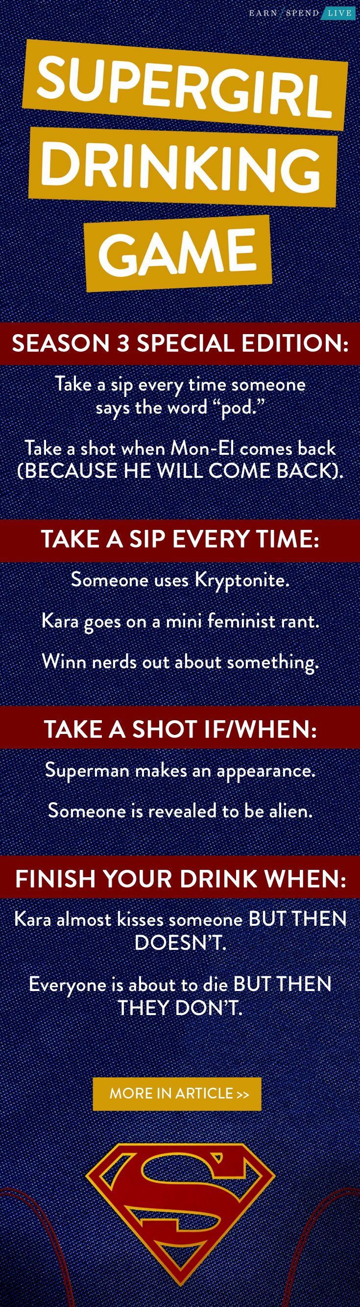 Super Girl Drinking Game, drinking game for SuperGirl, SuperGirl Drinking Game, SuperGirl Season 3