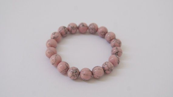 Marble bracelet made from natural stones pink howlite handmade beads minimal beaded bracelet women accessories