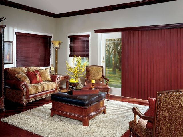 hunter douglas crosswinds wood vertical blinds with chain tassel and cord tensioner - Vertical Blinds For Sliding Glass Doors