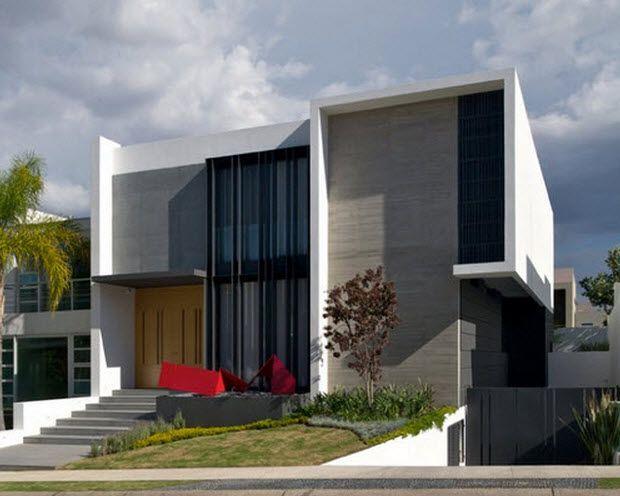 Fachada de casa moderna de dos plantas con s 620 for Casa de dos plantas wifi