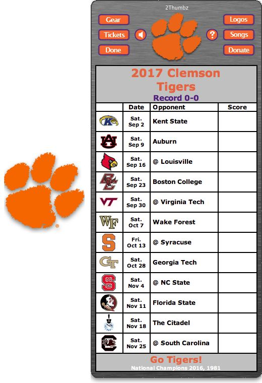 Get your 2017 Clesmon Tigers Football Schedule Dashboard Widget - Go Tigers! - National Champions 2016, 1981 Download yours at: http://2thumbzmac.com/teamPagesWidgets/Clemson_Tigers.htm