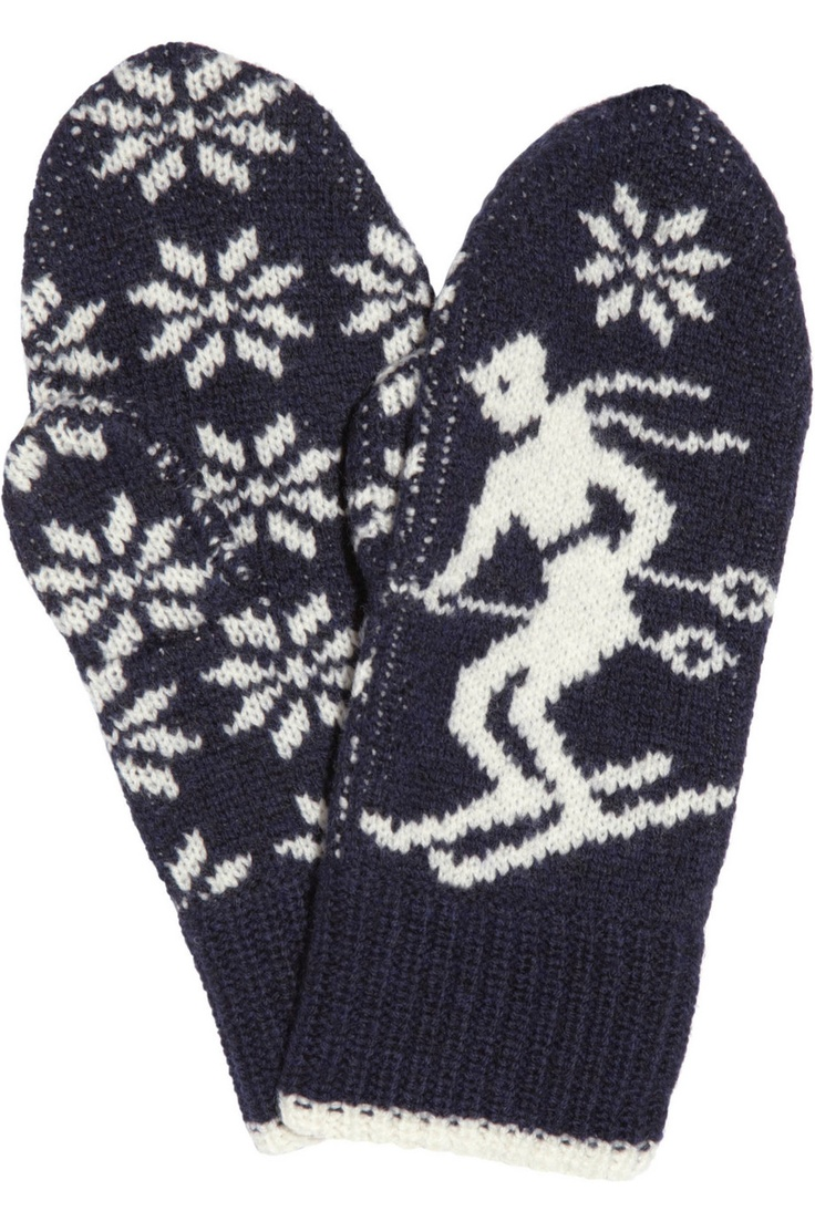 Fontwell intarsia wool mittens by Aubin & Wills