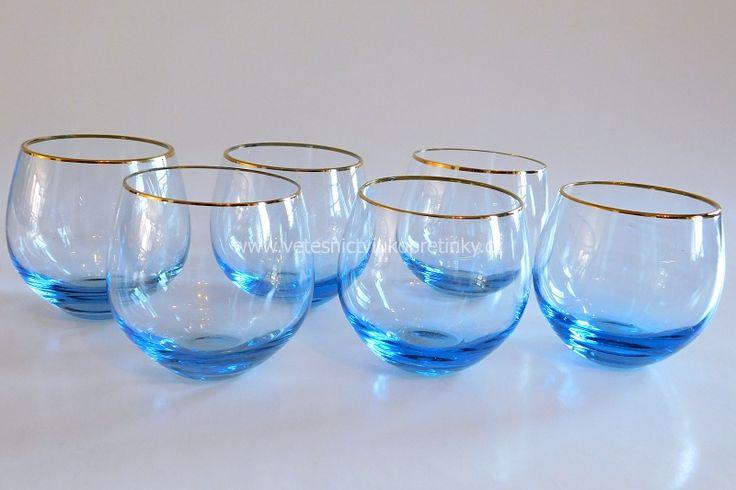 Likérová sada, sklárna #Moser, 6 ks světle modré sklo  #vetesnictví #bazar #retro #junkshop #vetesnictviukopretinky #sklo