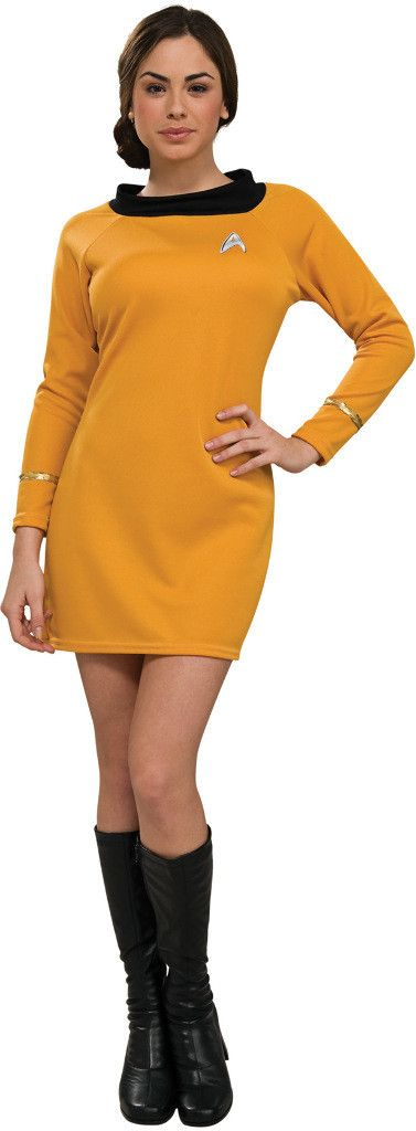 Women's Costume: Star Trek Classic Gold Dress   MediumBe the most attractive woman on any planet with this Star Trek classic gold dress with emblem. Command color. Fits women's size medium 8-10.Size: