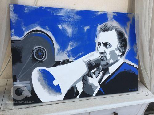 Quadro ritratto di Federico Fellini dipinto a mano su una tela...