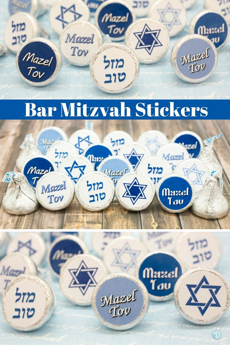 Create your own Bar Mitzvah favors or table scatter decorations with these stickers.  Features shades of blues with Mazel Tov and Star of David.  Simple, easy and delicious.