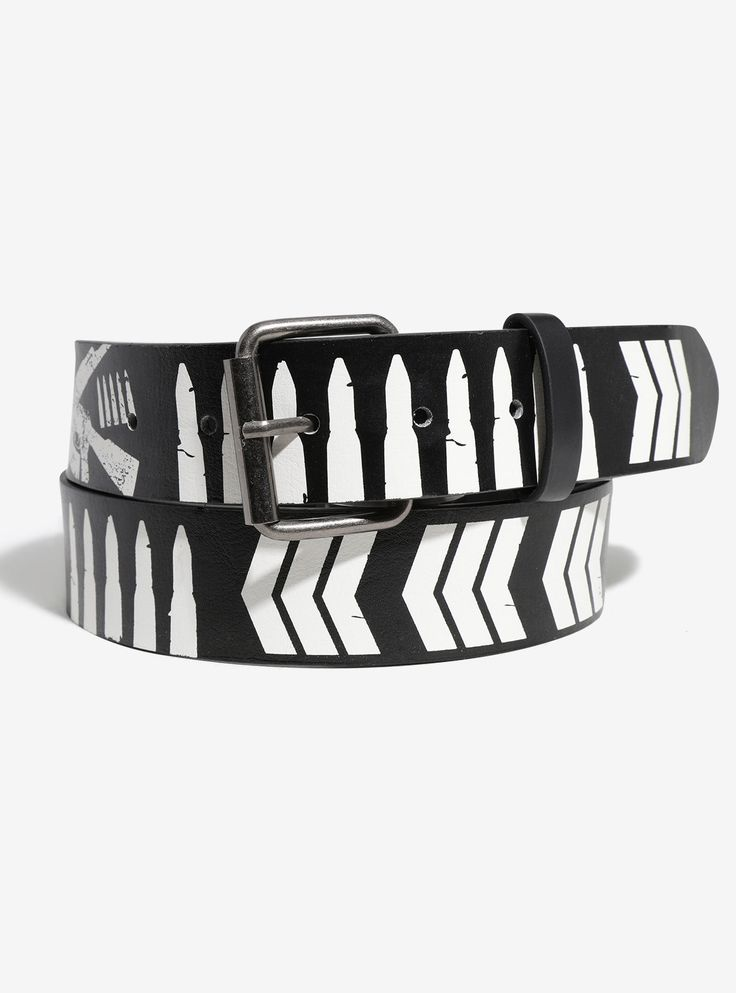 """Black faux leather belt from New Japan Pro-Wrestling featuring white graphics and logos from the Bullet Club.   SM: 35"""" long MD: 39"""" long LG: 43"""" long XL: 47"""" long 2X: 51 1/2"""" long   1 1/2"""" wide  PU  Imported"""