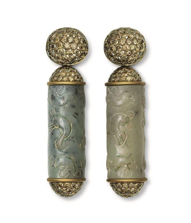 Hemmerle Earrings, brass, white gold, jade, olive brown diamonds