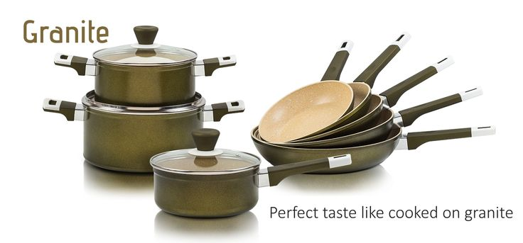 """New non-stick cookware with 5 layers of ultra durable """"Granite"""" coating:  suitable for all stoves, totally healthy cooking, easy cleaning, perfect taste like cooked on granite.  More information about Granite cookware you can find here → http://bit.ly/2tUa2tl  #NAVA #NAVAIdeas #kitchenart #cookware #granite"""