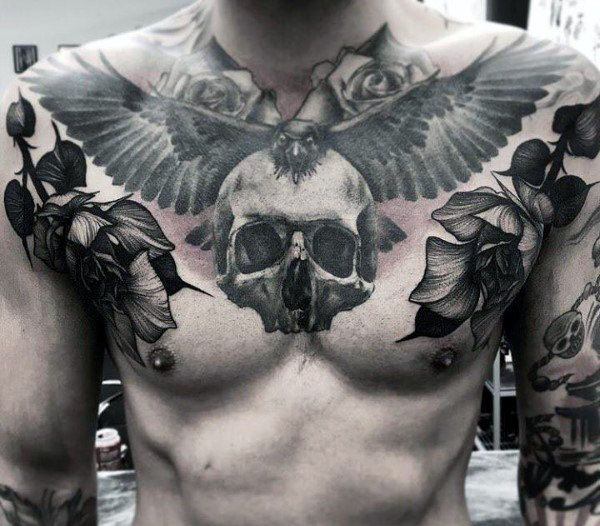 50 Skull Chest Tattoo Designs For Men Haunting Ink Ideas Skull Rose Tattoos Chest Piece Tattoos Chest Tattoo