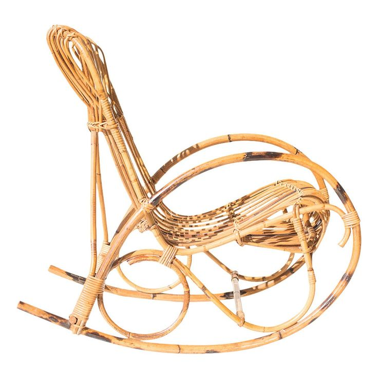 Franco Albini Style Wicker Rocking Chair and Magazine Rack   From a unique collection of antique and modern rocking chairs at https://www.1stdibs.com/furniture/seating/rocking-chairs/