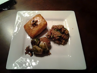 Honey Mustard Glazed Salmon, bulgar and oven-roasted Brussels sprouts ...