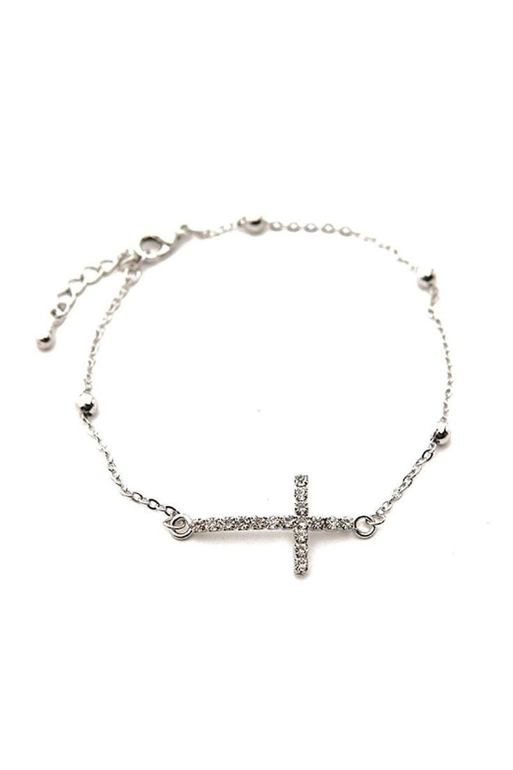 Side Cross Silver Bracelet