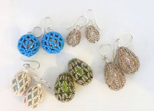 Easter Egg Earrings Tutorial Using Teardrop crystals - simple netting