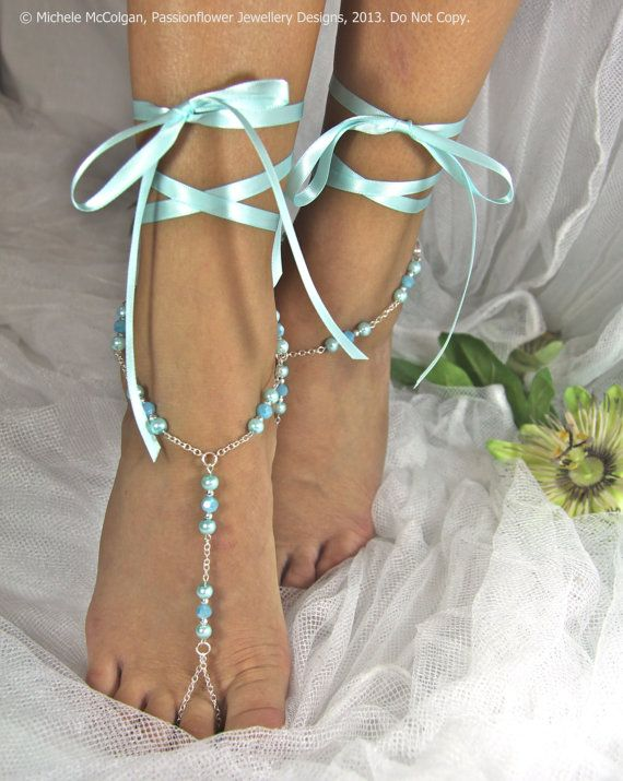 Barefoot Sandles aqua wedding blue by PassionflowerJewelry on Etsy, $29.00