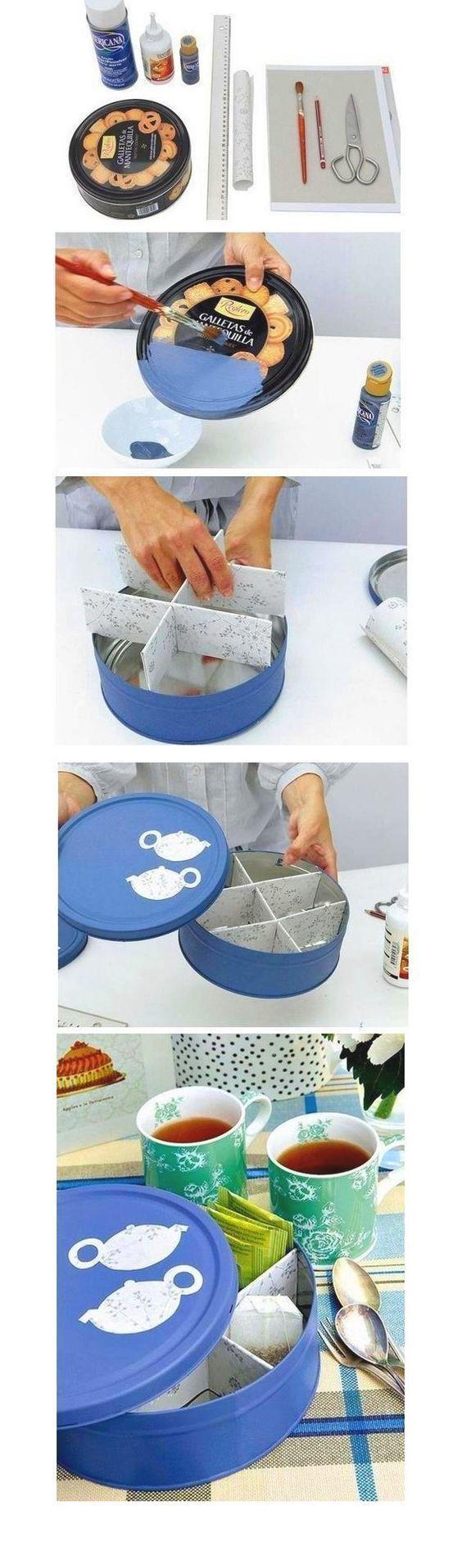 Para o café da tarde que tal fazer uma caixa para o chá? Basta customizar uma…
