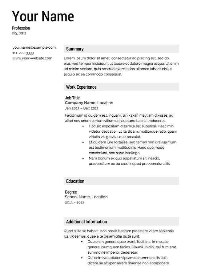resume template free templates downloads here